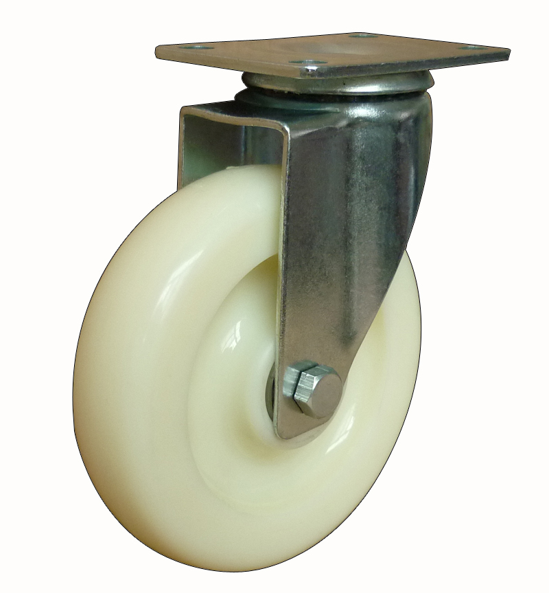 Medium duty white PP swivel caster